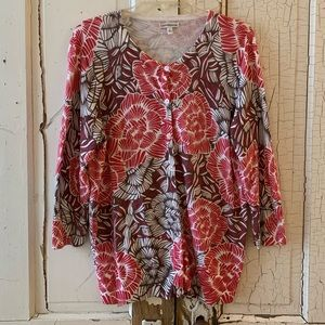 Croft and Barrow cotton floral cardigan Size Large